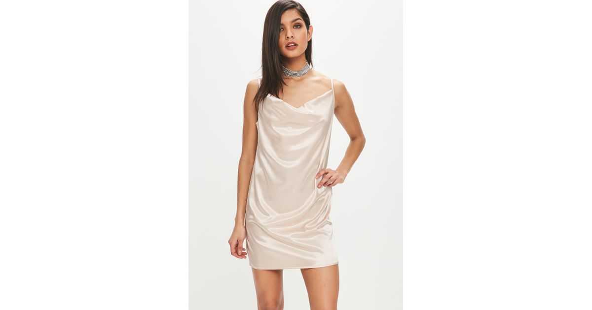 Missguided Champagne Satin Cowl Neck Dress