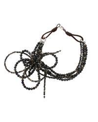 Brunello cucinelli Riolite Bow Necklace in Black (GLXC2502