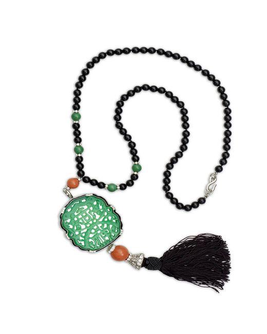 Kenneth jay lane Carved Jade Tassle Bead Necklace in Black