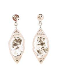 Saqqara 18k White Gold Diamond Gatsby Earrings in Silver ...