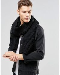 Asos Knitted Scarf In Black in Black for Men | Lyst