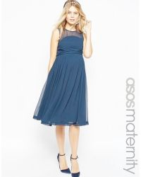 Asos Wedding Midi Dress With Ruched Detail - Navy in Blue ...