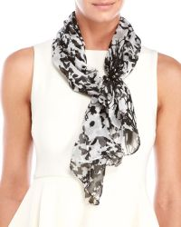 Anne klein Printed Silk Chiffon Scarf in Black (Black ...