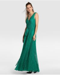 Lyst - Vera wang Green Lace Evening Dress in Green