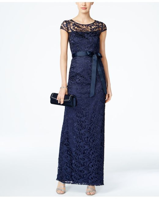 Adrianna Papell Cap Sleeve Illusion Lace Gown In Blue Lyst