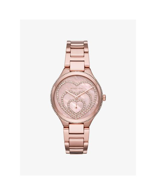 Michael Kors Lainey Pav Heart Rose Gold Tone Watch In