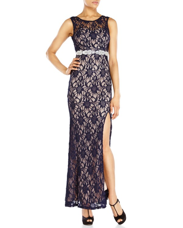 Lyst - City Triangles Navy Lace Illusion Gown In Blue