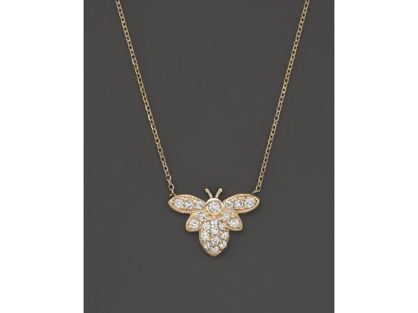 Kc Design Diamond Bumble Bee Pendant Necklace In 14k