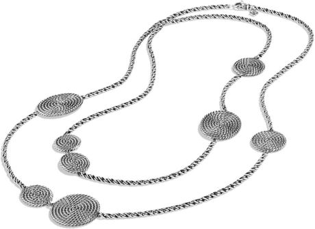 David yurman Cable Coil Chain Station Necklace in Silver