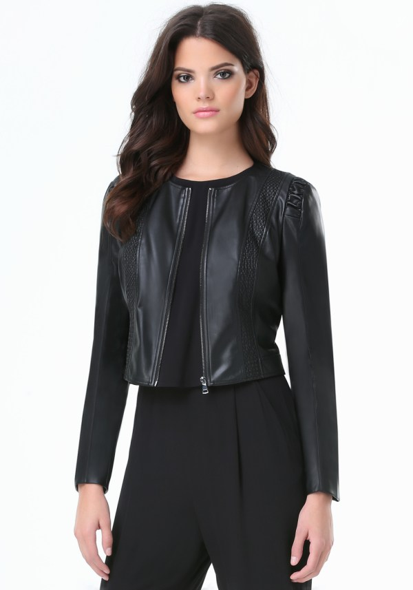 Lyst - Bebe Julia Faux Leather Jacket In Black