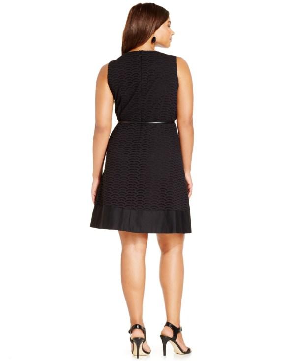 Lyst - Calvin Klein Size Eyelet -line Belted Dress