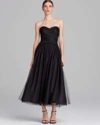 Ml Monique Lhuillier Dress Strapless Tulle Tea Length in