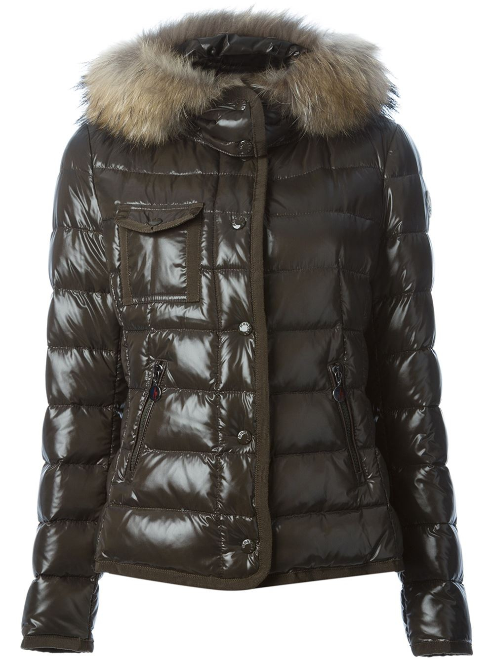 Lyst Moncler Armoise Fur Trimmed Puffer Jacket In Green
