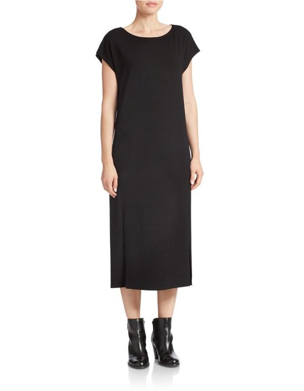 Lyst - Eileen Fisher Bateau Neck Long Dress In Black