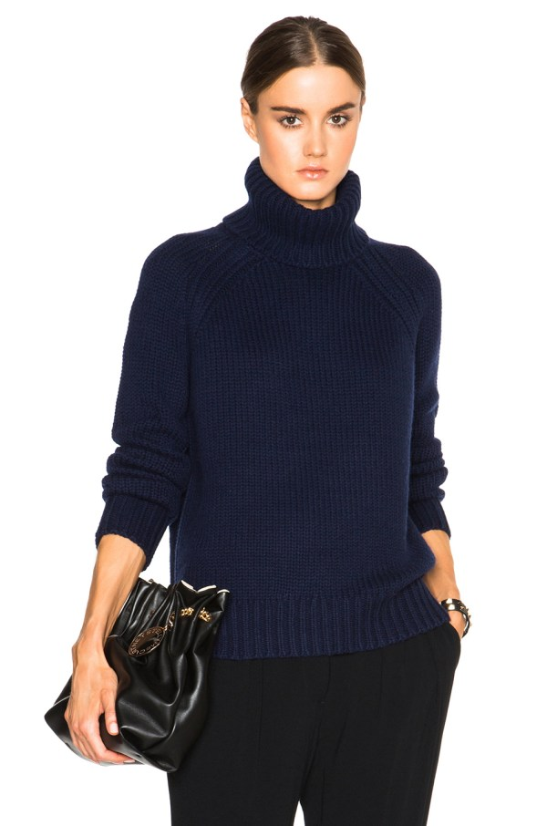Navy Blue Turtleneck Sweater for Women