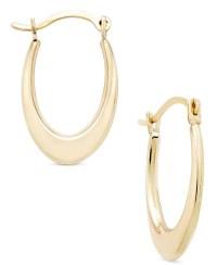 Macy's Polished Oval Hoop Earrings In 10k Gold in Gold ...