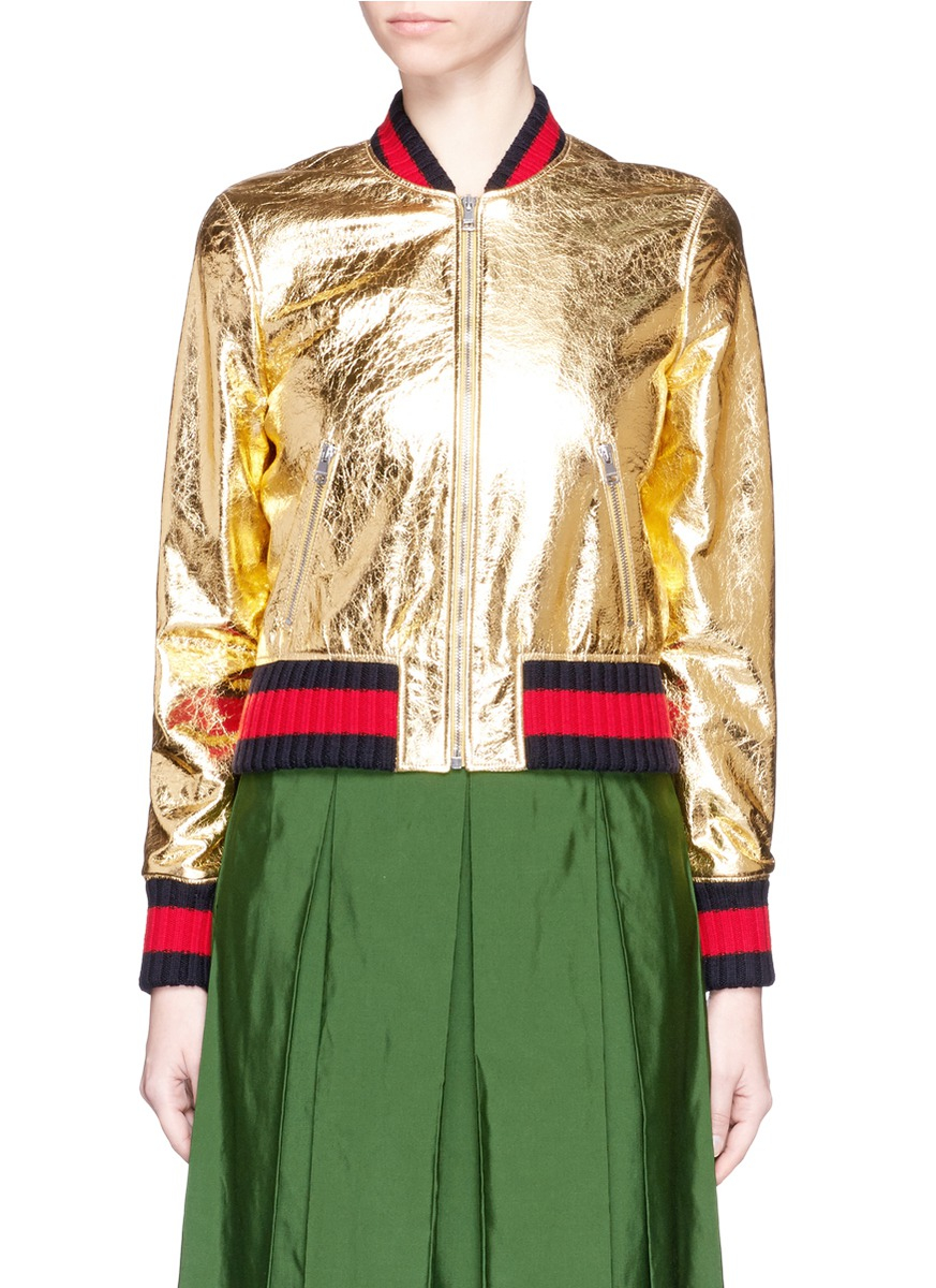 Lyst  Gucci Crackle Metallic Leather Bomber Jacket in