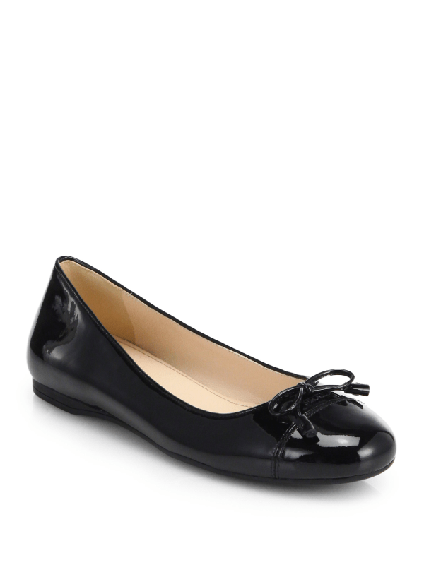 Lyst Prada Patent Leather Bow Ballet Flats in Black