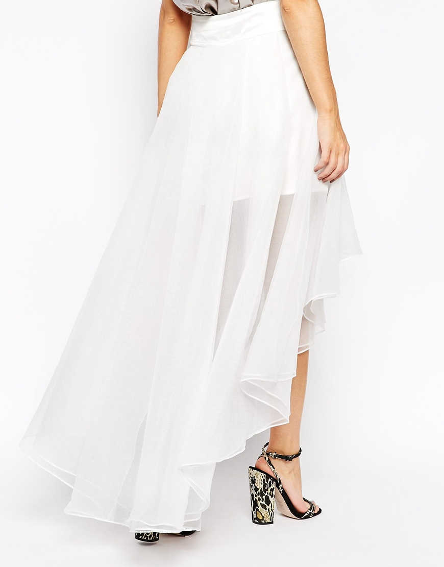 Lyst  Asos Premium Organza Skirt With High Low Hem in White