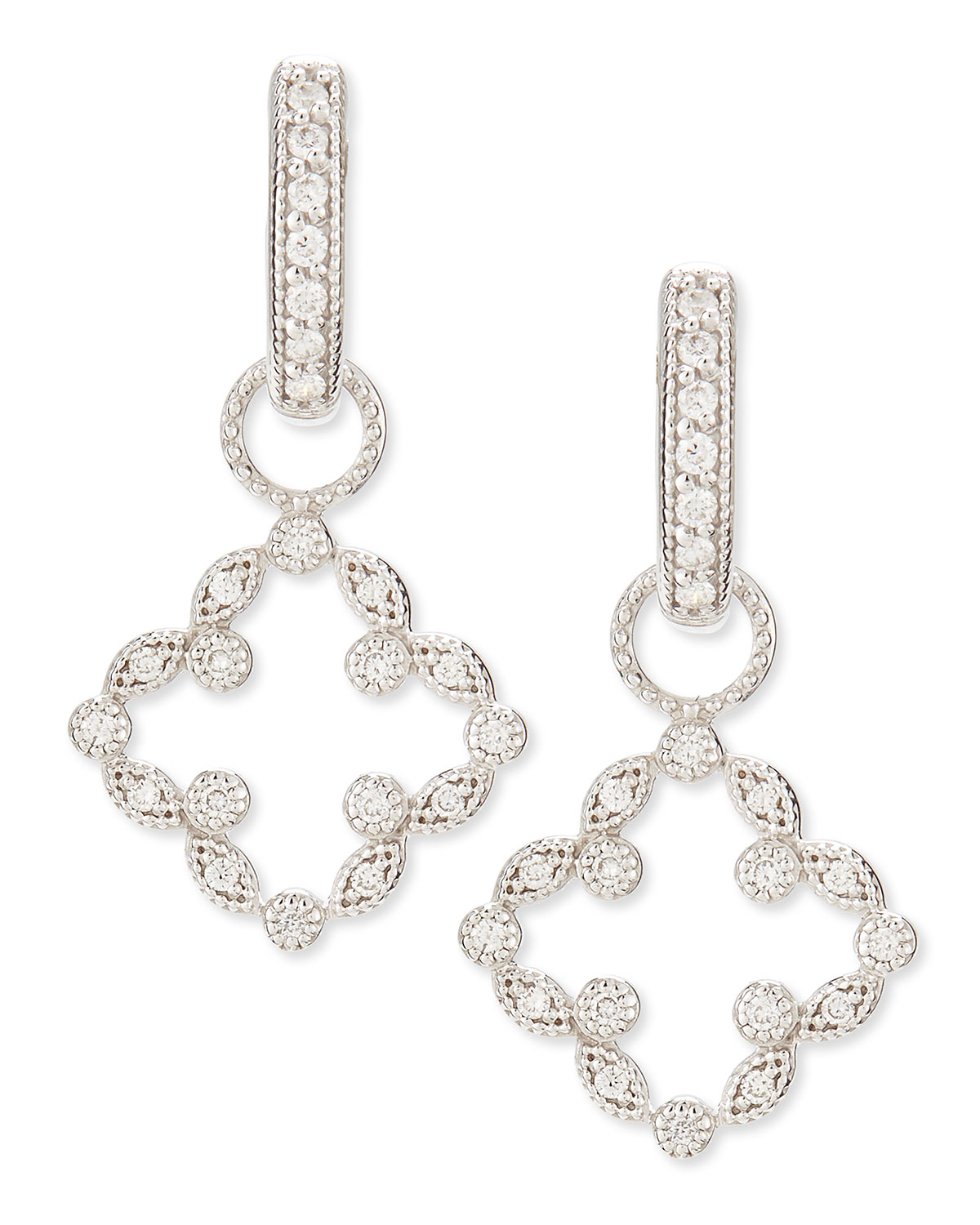 Judefrances Jewelry Open Marquise Pave Diamond Clover