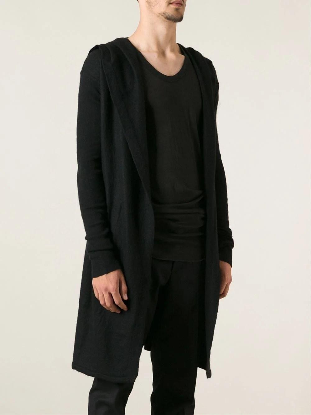Long Black Cardigan With Hood  Sweater Vest