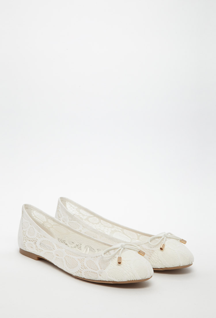 Lyst  Forever 21 Floral Lace Ballet Flats in White