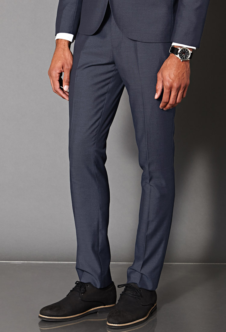 Mens Slim Fit Suit Trousers Dress Yy