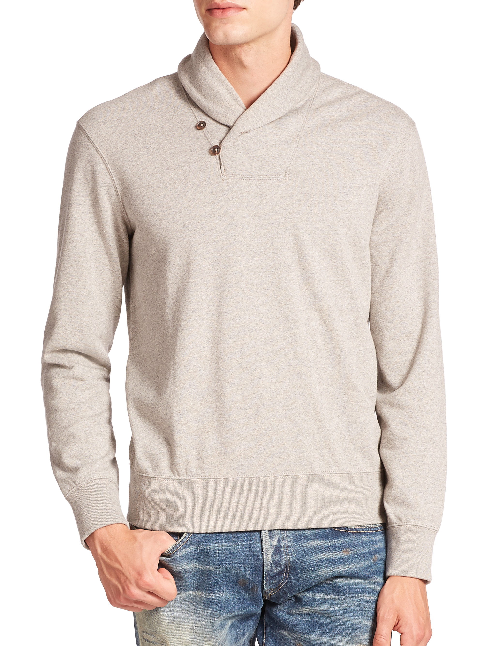Polo ralph lauren Shawl Collar Fleece Pullover in Gray for