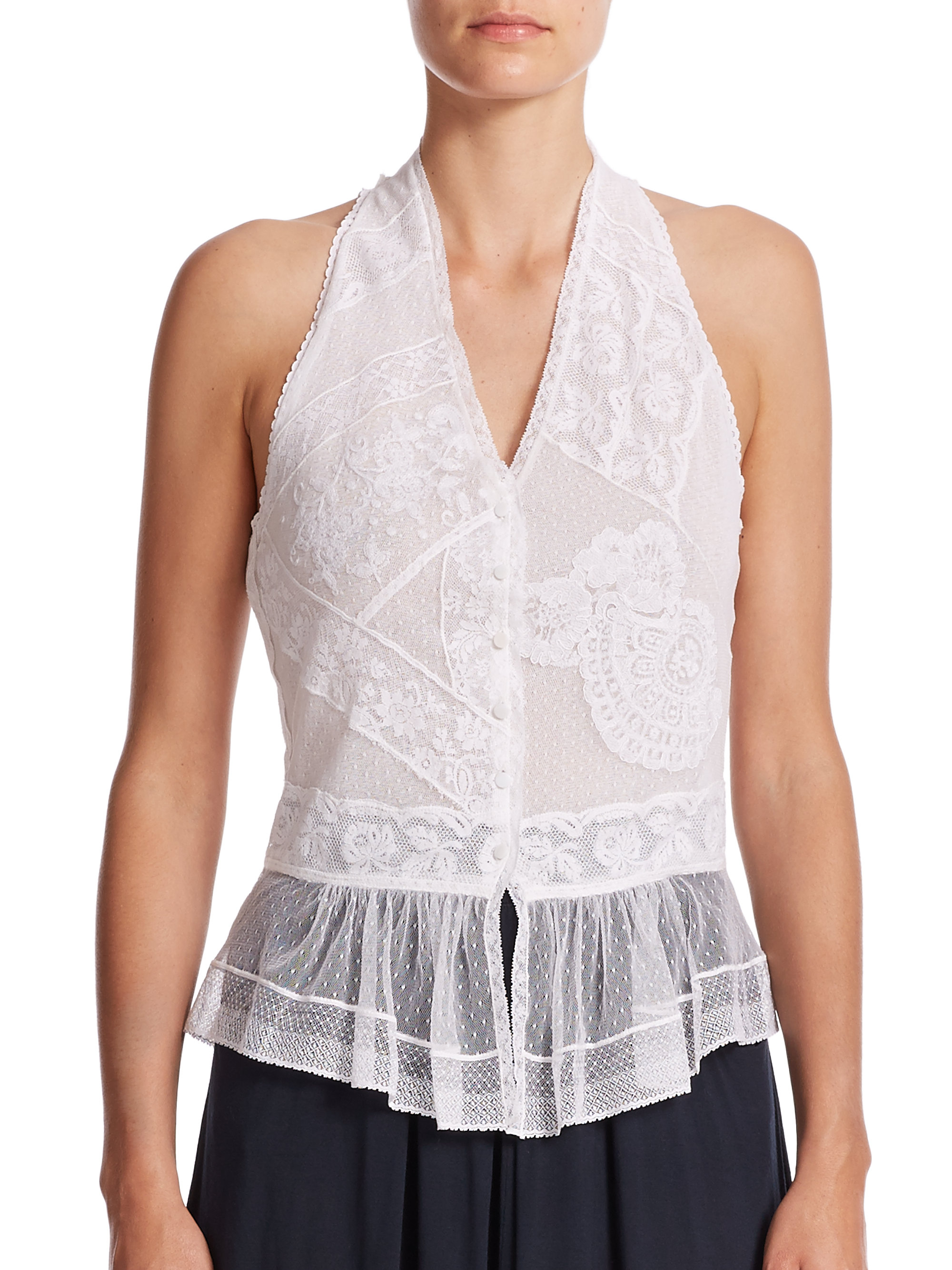 Lyst Polo Ralph Lauren Paneled Lace Peplum Blouse In White