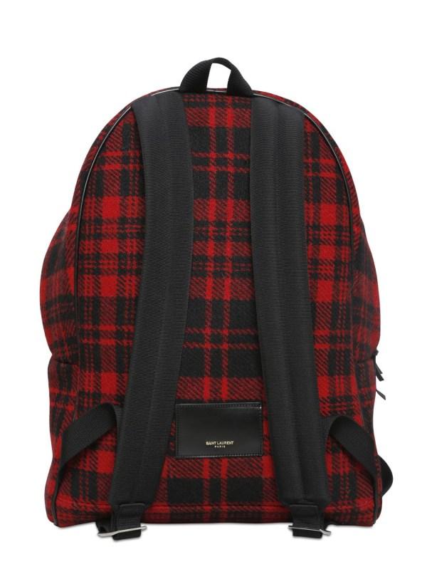 Saint Laurent Plaid Wool Flannel Backpack In Red Men