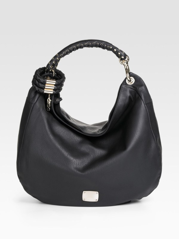 Lyst - Jimmy Choo Black Leather Sky Studded Bangle Hobo In