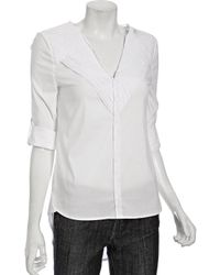 BCBGMAXAZRIA White Stretch Cotton Trimmed Yoke Tailed Shirt