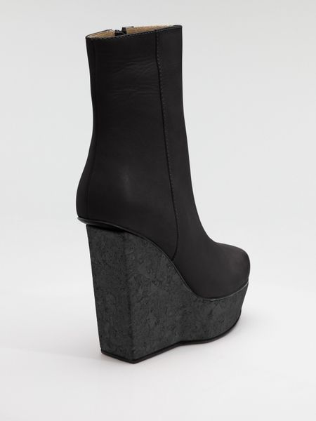 Acne Cork Wedge Ankle Boots in Black - Lyst