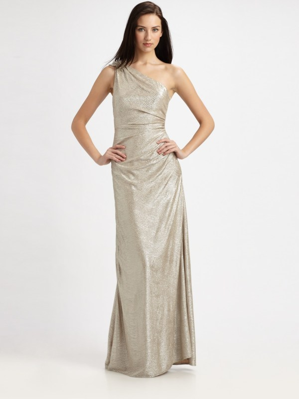 Lyst - David Meister Matelasse -shoulder Gown In Metallic