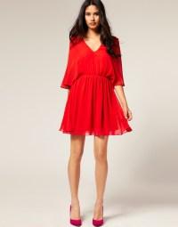 Asos collection Asos Petite Chiffon Kaftan Dress in Red   Lyst