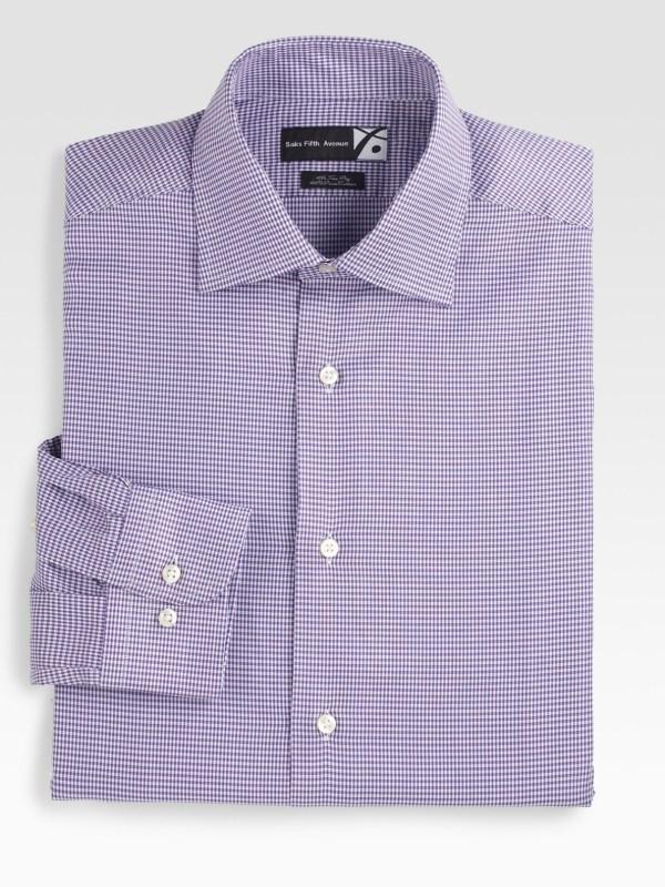 Saks Avenue Men Collection Houndstooth Dress Shirt
