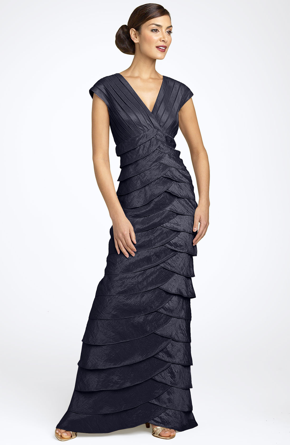 Adrianna Papell Evening Shutter Pleat Gown in Blue navy  Lyst