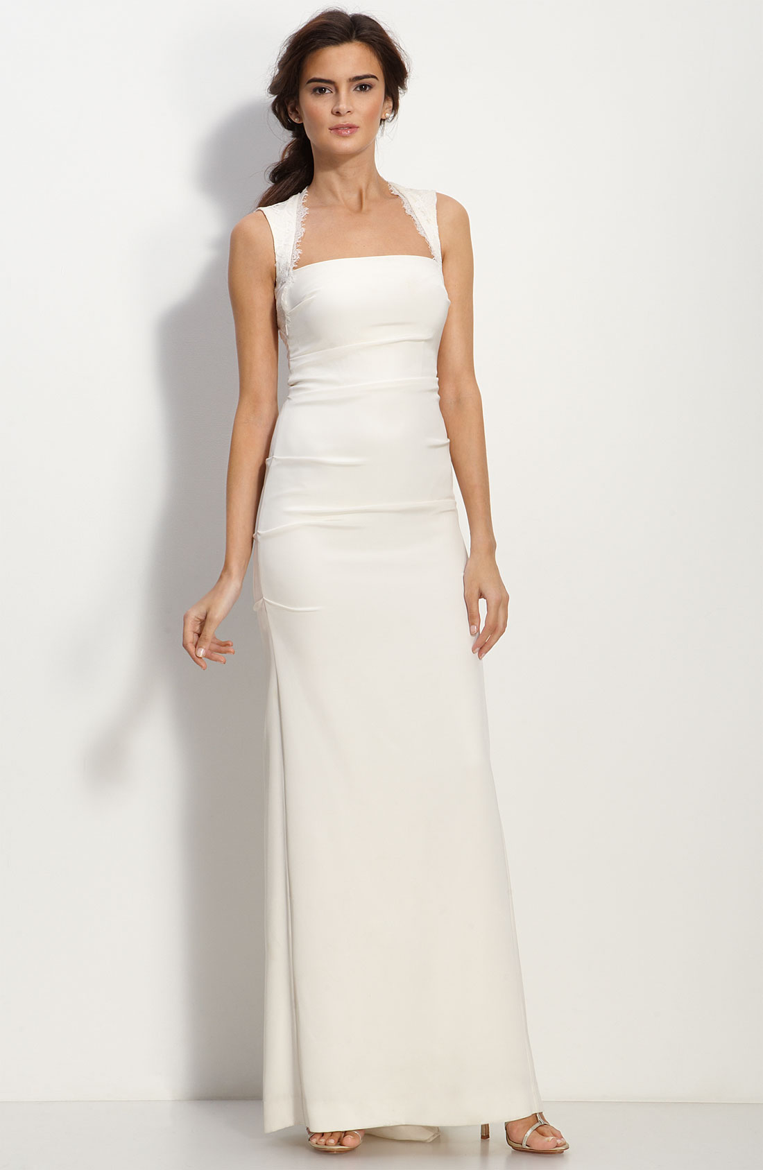 Nicole Miller Cutout Back Crpe De Chine Gown in White