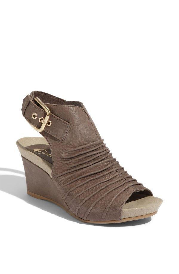 Earthies Bonaire Wedge Sandal In Brown Taupe Grey Lyst