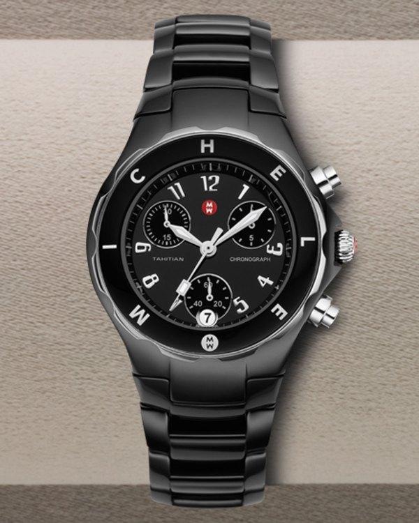 Michele Tahitian Logo Watch In Black Null Lyst