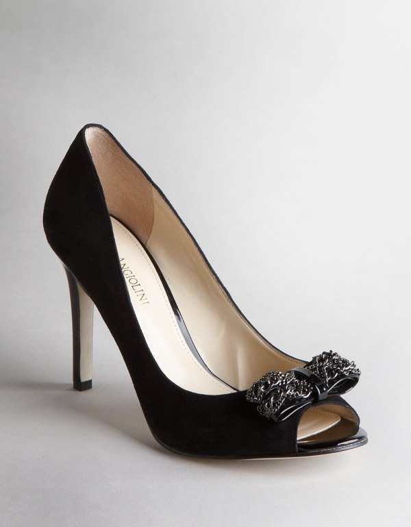 Enzo Angiolini Muira Open Toe Pumps In Black Suede