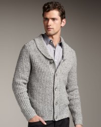 Lyst - Theory Shawl-collar Cardigan in Gray for Men