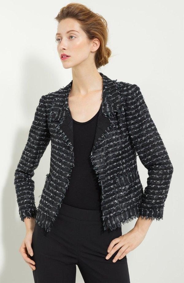 Oscar De La Renta Cropped Tweed Jacket In Black Lyst