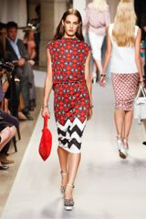 Loewe Spring 2012 Multicolor Mixed Print Knee Length Dress