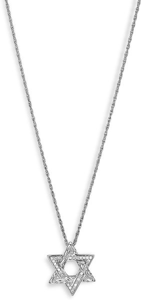 John Hardy Diamond Star Of David Pendant Necklace in