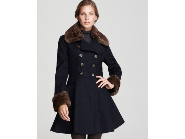Lyst - Laundry Shelli Segal Faux Fur Trim Skirted Coat