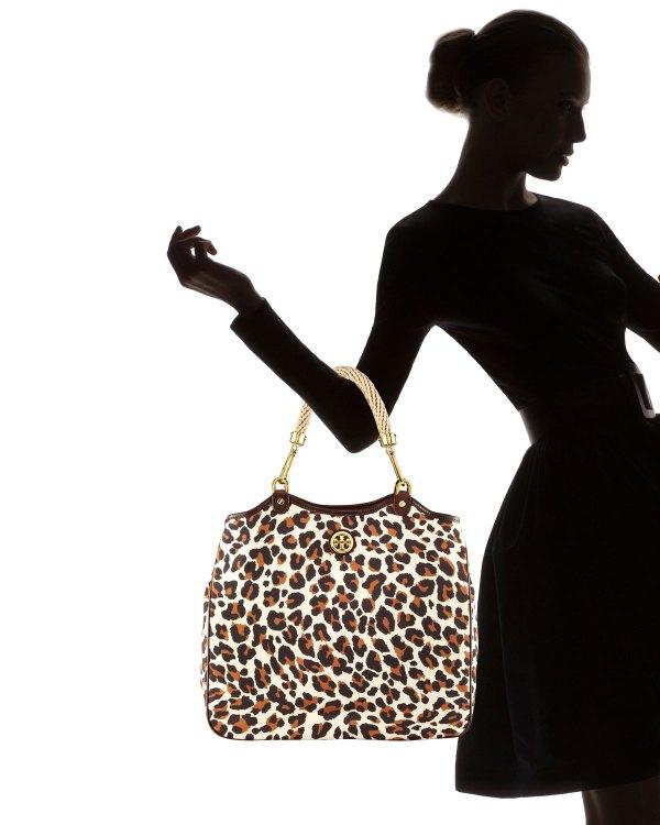 Tory Burch Channing Nylon Tote Bag In Beige Leopard Lyst