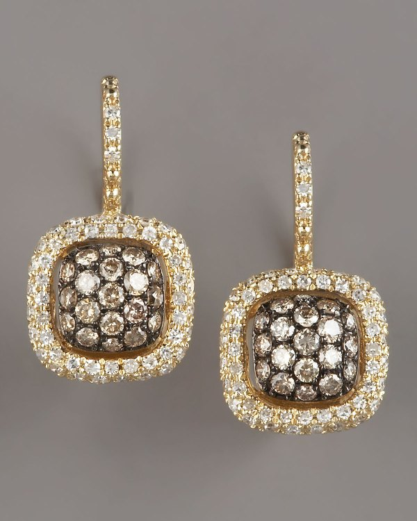 Kc Design Champagne & White Diamond Earrings Yellow In