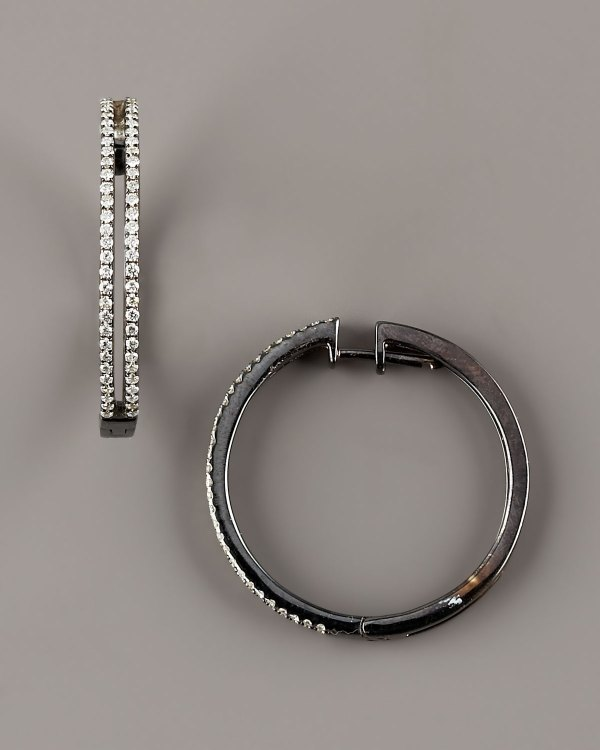 Kc Design Diamond Hoop Earrings In Black Null Lyst