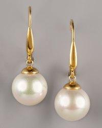 Majorica Pearl Drop Earrings in White (white pearl) | Lyst